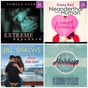 4 star+ AudioBooks I Loved: Neanderthal Seeks Human by Penny Reid, About That Kiss by Jill Shalvis, Extreme Exposure by Pamela Clare, The Hookup by Kristen Ashley